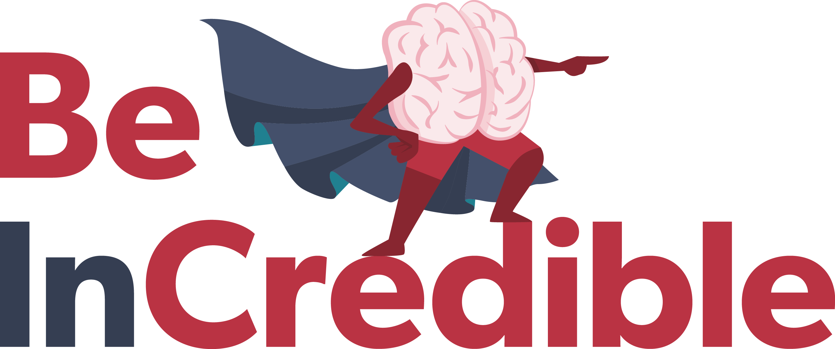 Brain with cape standing on top of 'Be In Credible' letters