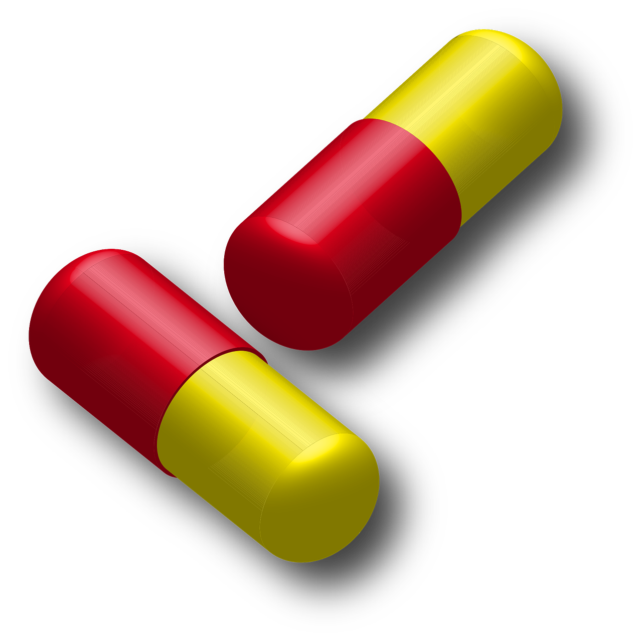 Red and yellow drug capsules